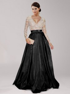 Black Zipper Prom Dresses Beading and Belt Long Sleeves Floor Length
