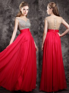 Coral Red Zipper Prom Gown Beading Cap Sleeves Floor Length