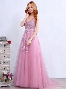 New Arrival Backless V-neck Sleeveless Dress for Prom With Brush Train Appliques and Belt Pink Tulle