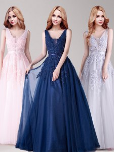 Floor Length Backless Prom Evening Gown Baby Pink for Prom with Appliques and Belt