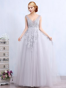 Fancy Grey Backless Prom Gown Appliques and Belt Sleeveless With Brush Train