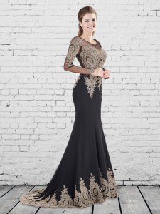 Comfortable Black Mermaid Elastic Woven Satin Scoop Long Sleeves Appliques With Train Lace Up Evening Dress Brush Train