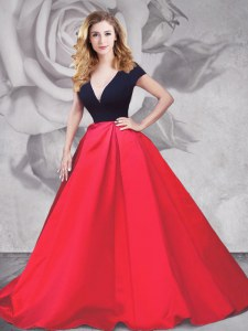 Short Sleeves Satin and Tulle With Brush Train Zipper Evening Dress in Red And Black with Ruching