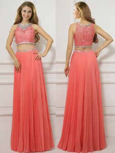 Scoop Sleeveless Homecoming Dress Floor Length Beading Watermelon Red Chiffon