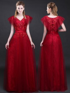 Unique Lace Short Sleeves Floor Length Appliques and Belt Zipper Prom Gown with Wine Red