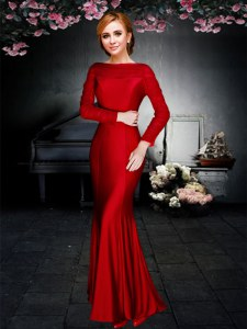 Red Prom Dresses Prom and For with Ruching Off The Shoulder Long Sleeves Zipper