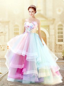 Top Selling Multi-color Zipper Sweetheart Ruffled Layers and Hand Made Flower Evening Dress Organza Sleeveless
