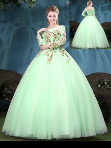 Tulle Scoop Long Sleeves Lace Up Appliques Quince Ball Gowns in Apple Green