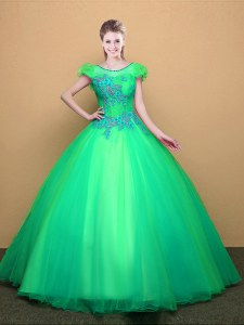 Great Turquoise Lace Up Scoop Appliques Quinceanera Gowns Tulle Short Sleeves