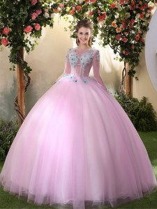 Super Scoop Tulle Long Sleeves Floor Length Quinceanera Gown and Appliques