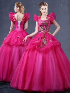 Fuchsia Tulle Lace Up Straps Sleeveless Floor Length Sweet 16 Dress Appliques