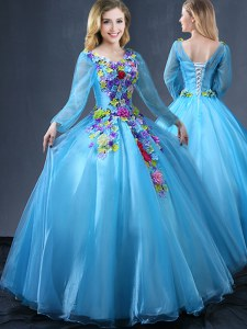 Fashion Baby Blue Ball Gowns Tulle V-neck Long Sleeves Appliques Floor Length Lace Up 15 Quinceanera Dress