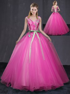 Modern Hot Pink V-neck Neckline Appliques and Belt Quinceanera Dress Sleeveless Lace Up