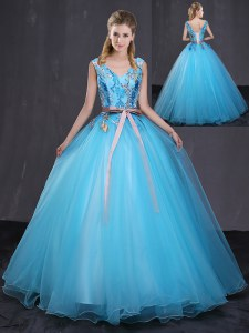 Beauteous Appliques and Belt Sweet 16 Quinceanera Dress Blue Lace Up Sleeveless Floor Length