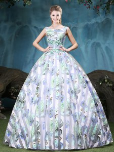 Ball Gowns Sweet 16 Quinceanera Dress Multi-color Straps Tulle Sleeveless Floor Length Lace Up