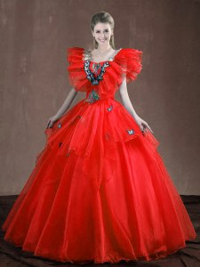 Glamorous Sleeveless Organza Floor Length Lace Up Quinceanera Dress in Red with Appliques and Ruffles