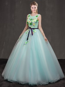 Pretty Scoop Sleeveless Organza Floor Length Lace Up 15th Birthday Dress in Apple Green with Appliques