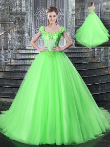 Edgy Straps Sleeveless Tulle Sweet 16 Dress Beading and Appliques Brush Train Lace Up