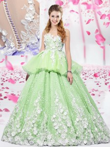 Shining Scoop Yellow Green Organza and Tulle Lace Up Quinceanera Gowns Sleeveless Floor Length Lace and Appliques