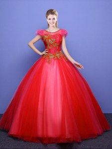 Best Selling Scoop Short Sleeves Floor Length Appliques Lace Up Sweet 16 Dresses with Coral Red