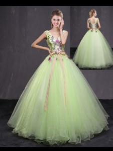 Appliques and Belt Quinceanera Gowns Yellow Green Lace Up Sleeveless Floor Length