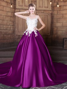 Fashion Eggplant Purple Scoop Neckline Lace and Appliques Quinceanera Gown Sleeveless Lace Up