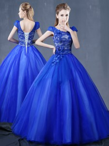 Artistic Short Sleeves Floor Length Lace Up Sweet 16 Dress Royal Blue for Military Ball and Sweet 16 and Quinceanera with Lace and Appliques