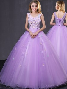 Lavender Tulle Lace Up Sweet 16 Dresses Sleeveless Floor Length Lace and Appliques