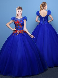 Stunning Scoop Floor Length Royal Blue 15 Quinceanera Dress Tulle Short Sleeves Appliques