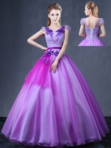 Floor Length Lavender Quinceanera Gown Organza Short Sleeves Lace and Appliques