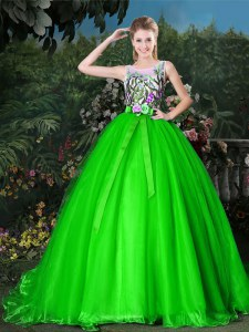Custom Designed Ball Gowns Organza Scoop Sleeveless Appliques and Belt Zipper Sweet 16 Dress Brush Train