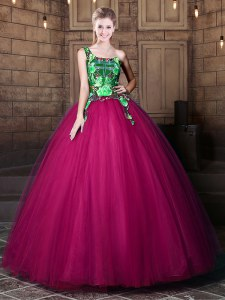 One Shoulder Floor Length Lace Up 15th Birthday Dress Fuchsia for Military Ball and Sweet 16 and Quinceanera with Pattern