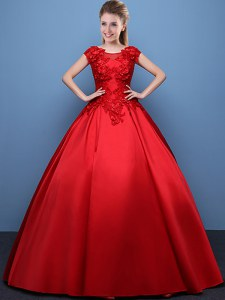 Scoop Red Lace Up Quinceanera Dresses Appliques Cap Sleeves Floor Length
