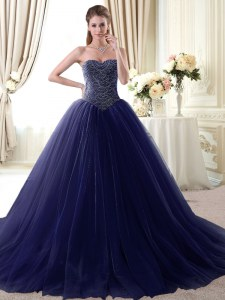 Cheap Navy Blue Lace Up Quinceanera Dresses Beading Sleeveless Floor Length