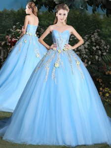 Light Blue 15 Quinceanera Dress Sweetheart Sleeveless Brush Train Lace Up