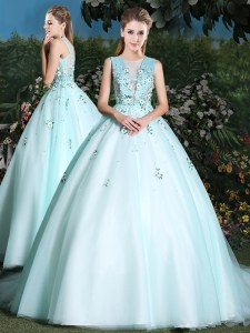 Romantic Scoop Sleeveless Tulle 15th Birthday Dress Beading and Appliques Brush Train Lace Up