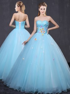 Sweetheart Sleeveless Lace Up Quinceanera Dress Light Blue Tulle
