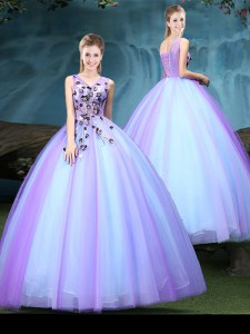Low Price Floor Length Blue and Lilac Quinceanera Dresses V-neck Sleeveless Lace Up