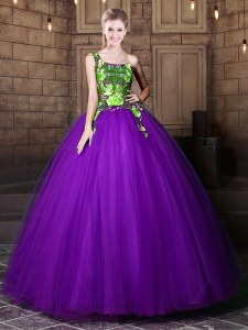 Stunning One Shoulder Sleeveless Floor Length Pattern Lace Up Quince Ball Gowns with Eggplant Purple