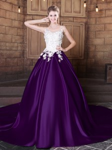 Exceptional With Train Dark Purple Sweet 16 Quinceanera Dress Scoop Sleeveless Court Train Lace Up