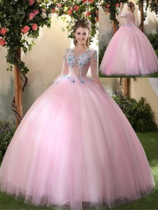 Hot Sale Scoop Long Sleeves Lace Up Floor Length Appliques Sweet 16 Dresses