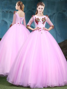 Fitting Baby Pink Ball Gowns Scoop Half Sleeves Tulle Floor Length Lace Up Appliques 15 Quinceanera Dress