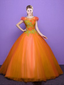Scoop Short Sleeves Appliques Lace Up Quince Ball Gowns