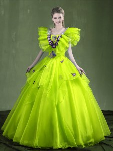 Yellow Green Sweetheart Lace Up Appliques and Ruffles Ball Gown Prom Dress Sleeveless