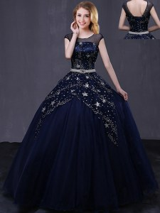 Navy Blue Lace Up Scoop Beading and Belt 15th Birthday Dress Tulle Cap Sleeves