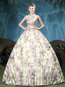 Super Multi-color Quinceanera Gowns Military Ball and Sweet 16 and Quinceanera and For with Appliques and Pattern Straps Sleeveless Lace Up