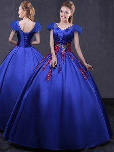 Royal Blue Lace Up V-neck Appliques Quinceanera Dresses Satin Cap Sleeves