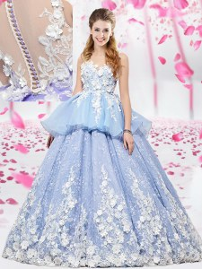 Delicate Lavender Ball Gowns Organza and Tulle Scoop Sleeveless Lace and Appliques Floor Length Lace Up Quinceanera Gown