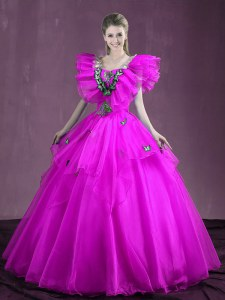 Exceptional Organza Sweetheart Sleeveless Lace Up Appliques and Ruffles Sweet 16 Dress in Fuchsia