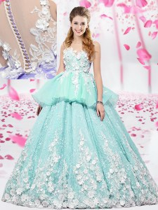 Perfect Scoop Apple Green Sleeveless Lace and Appliques Floor Length Sweet 16 Dresses